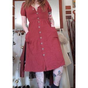 Burnt Orange Button Down Dress